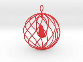 merry bird - christmas ornament in Red Strong & Flexible Polished