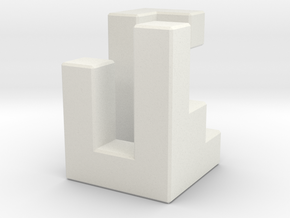 Triaxial piece (2cm) in White Natural Versatile Plastic