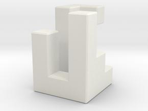Triaxial piece (2cm) in White Natural Versatile Plastic
