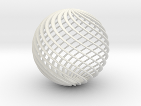 Twisted Ball in White Natural Versatile Plastic