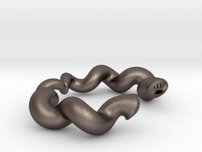 Twisted Geometry Bracelet in Polished Bronzed Silver Steel