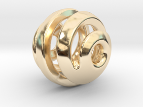 sphere spiral pendant in 14K Yellow Gold
