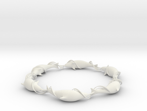 Dolphin Ring in White Natural Versatile Plastic