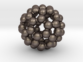 C60 - Buckyball - M - Steel in Polished Bronzed Silver Steel