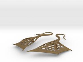 Wing Earrings in Polished Bronze