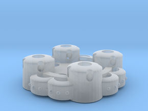 Clover Connector - Ornamental (45 Degrees) in Smooth Fine Detail Plastic