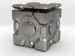 Companion Cube 50mm in Natural Silver