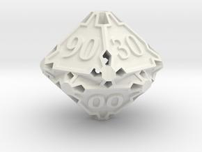 Large Premier Decader d10 in White Natural Versatile Plastic