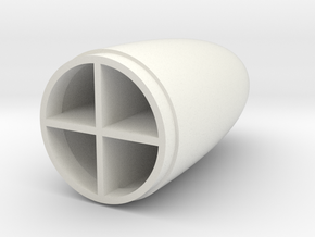 NoseCone with brace in White Natural Versatile Plastic