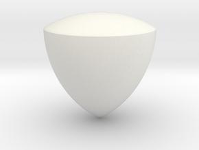 Reuleaux Triangle Spheroform in White Natural Versatile Plastic