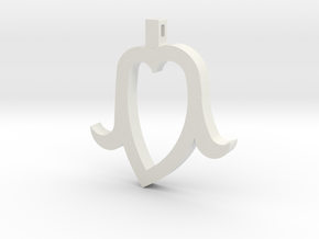 Heart Head mini in White Natural Versatile Plastic