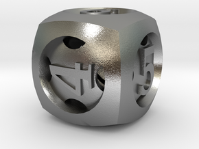 Overstuffed d6 in Natural Silver