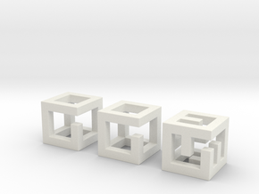 little maze-n-cubes (hollow 0.75mm walls) in White Natural Versatile Plastic