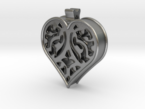 Window Heart in Natural Silver