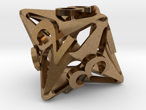 Pinwheel d8 in Natural Brass
