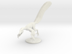 Male Velociraptor (1:12 scale hollow) in White Natural Versatile Plastic