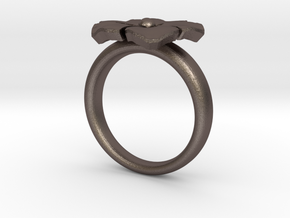 ring flower s44 in Polished Bronzed Silver Steel