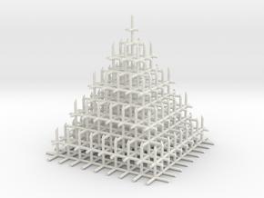 Mesh Pyramid in White Natural Versatile Plastic