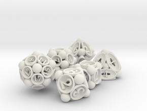 Spore Dice Set in White Natural Versatile Plastic