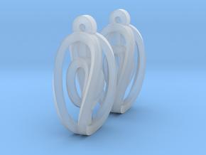 Miniature Aerial Earrings in Smooth Fine Detail Plastic