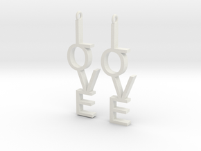 Love Earrings Small  in White Natural Versatile Plastic
