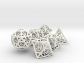 Cage Dice Set in White Natural Versatile Plastic