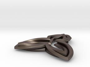 Triple Leaf pendant in Polished Bronzed Silver Steel