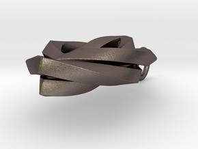Leaf pendant in Polished Bronzed Silver Steel