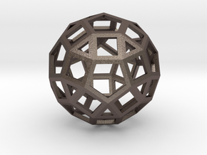 Rhombicosidodecahedron in Polished Bronzed Silver Steel