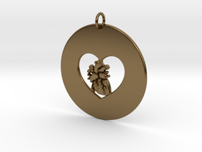My Heart is in Your Heart Pendant in Polished Bronze