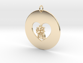 My Heart is in Your Heart Pendant in 14k Gold Plated Brass