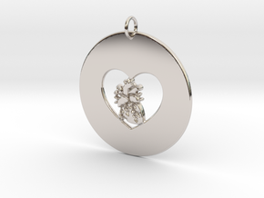 My Heart is in Your Heart Pendant in Rhodium Plated Brass