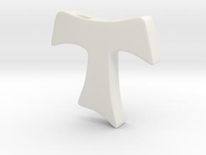 Tau cross pendant MEDIUM in White Natural Versatile Plastic