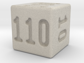 Binary 110-Sided Die in Natural Sandstone
