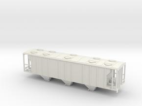 PS2 3 Bay Covered Hopper TT Scale Body in White Natural Versatile Plastic