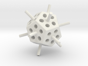 Mini Megaminx core (Print 1) in White Natural Versatile Plastic