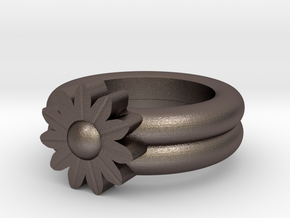 Sarah Allen Gerbera Ring in Polished Bronzed Silver Steel