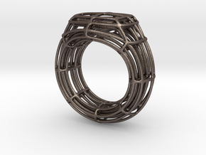 Wire Signet in Polished Bronzed Silver Steel
