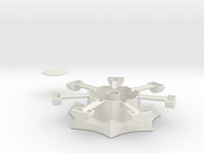 Heptagonal domino center misc. (print 2) in White Strong & Flexible