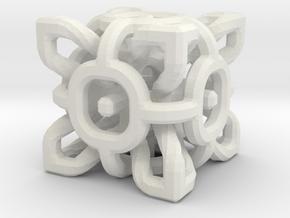 Complex Cube 3cm in White Natural Versatile Plastic