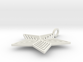 Star Pendant  'Radiant Star' in White Natural Versatile Plastic