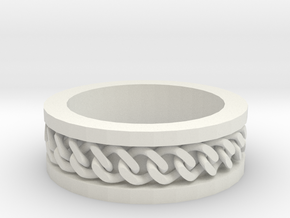 Flat Chain Ring in White Natural Versatile Plastic