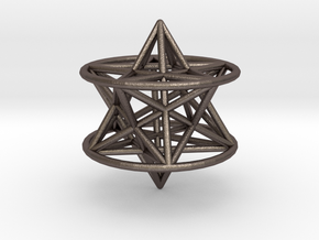 3d pentagram star in Polished Bronzed Silver Steel