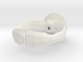 """Lowpoly"" ring in White Natural Versatile Plastic"