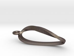 Moebius Strip Necklace Pendant in Polished Bronzed Silver Steel