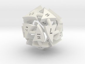 Tocrax Twenty-Sided Die in White Strong & Flexible