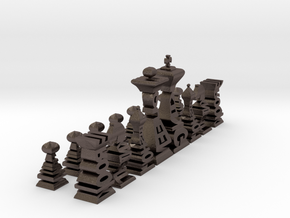 Typographical Chess Set in Polished Bronzed Silver Steel