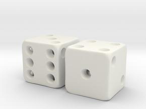 Barebones Pair of Dice in White Natural Versatile Plastic