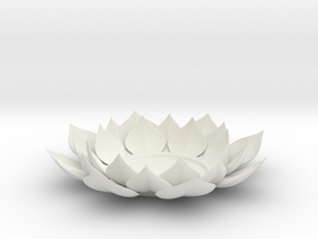 Lotus Flower Tea Light Holder in White Natural Versatile Plastic