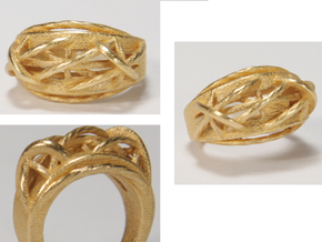 Signet Ring in Polished Gold Steel: 6 / 51.5